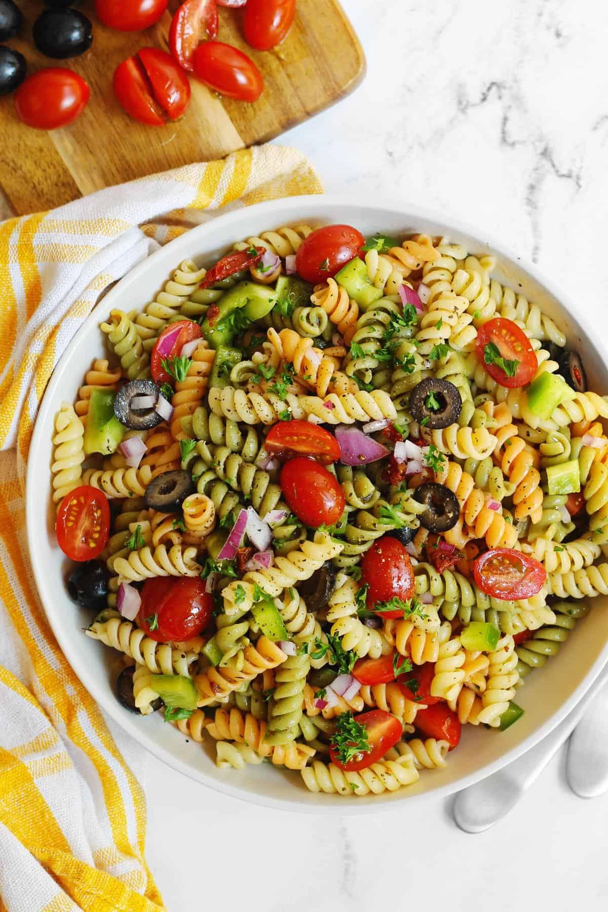 Vegan pasta salad in a white bowl