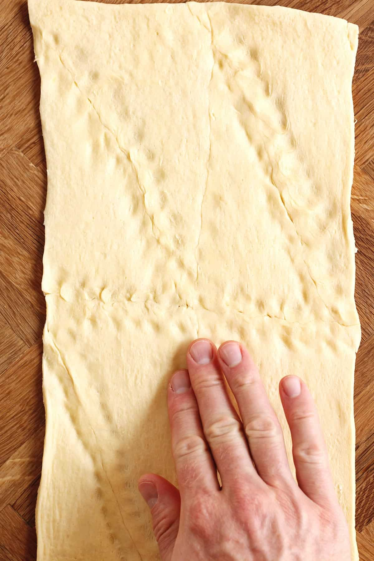 Flattened out crescent dough