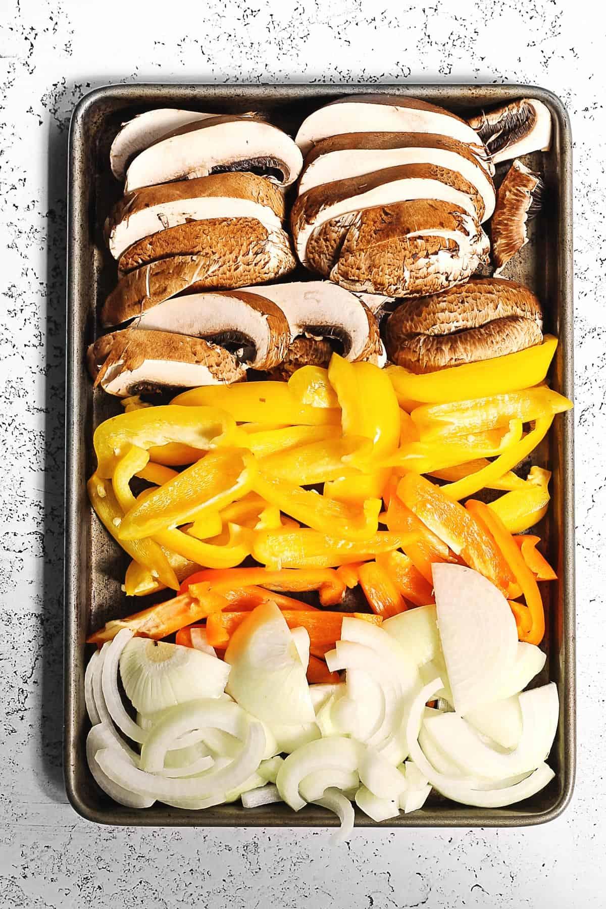 Fajita veggies on a sheet pan