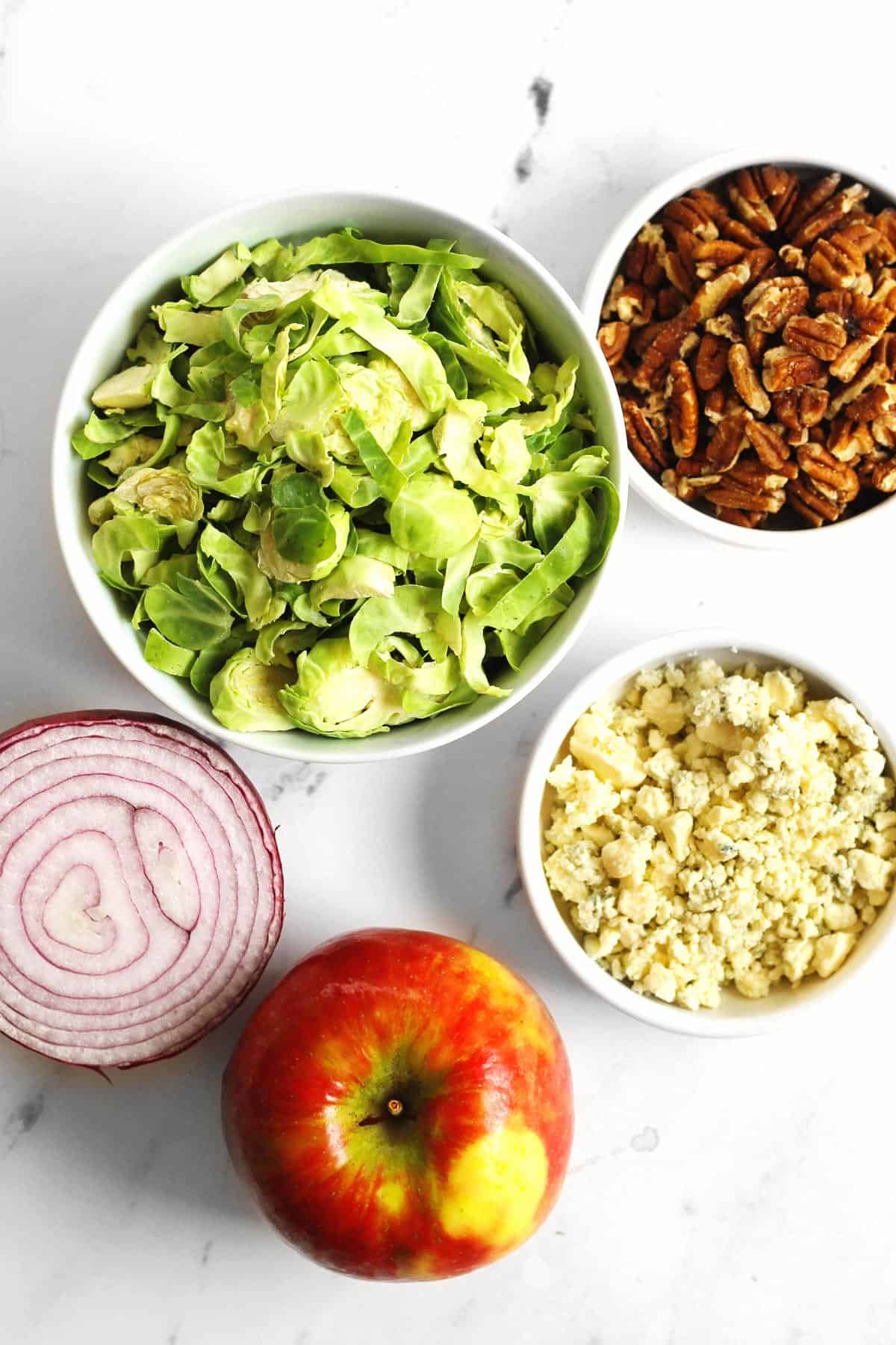 Brussels sprout and apple salad ingredients