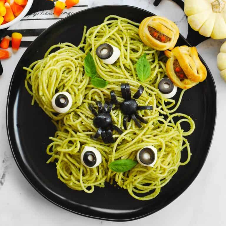 Spooky spaghetti and eyeballs