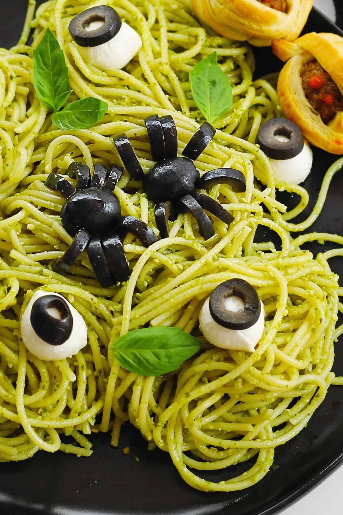 Halloween spaghetti with olive spiders